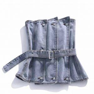 Top bustier en jean avec boutons