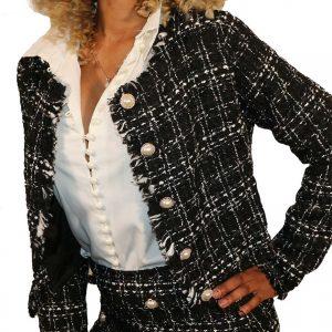 Veste en Tweed à  Ourlet Effiloché