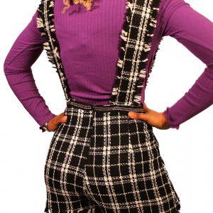 Jupe-Short à bretelles en tweed avec ourlet